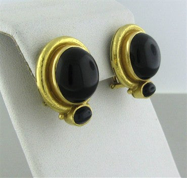 image of Elizabeth Locke 18K Yellow Gold Onyx Cabochon Earrings