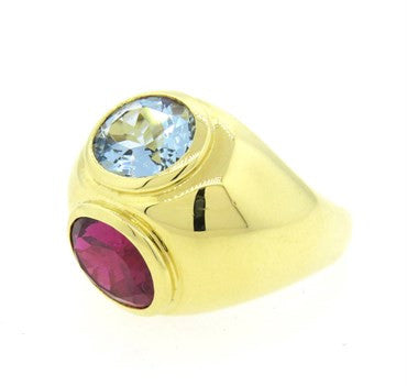 thumbnail image of Tiffany & Co Picasso Rubellite Tourmaline Aquamarine 18k Gold Ring