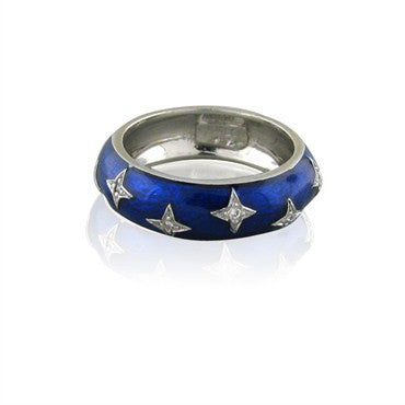 image of Hidalgo 18K White Gold Blue Enamel Diamond Band Ring