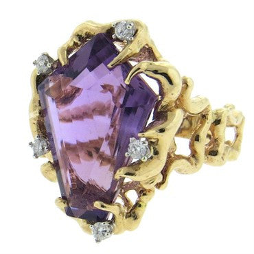 image of 1970s Amethyst Diamond Free Form 14k Gold Ring