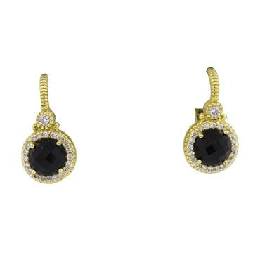 image of Judith Ripka 18k Gold Smokey Quartz Diamond Earrings