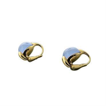 image of New Pomellato Luna 18k Gold Chalcedony Small Earrings