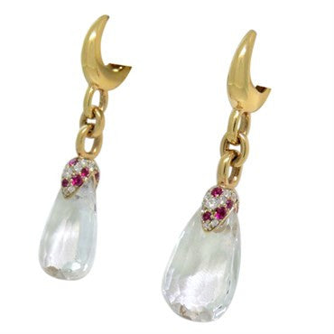 image of New Pomellato Pin Up 18k Gold Diamond Clear Quartz Drop Earrings