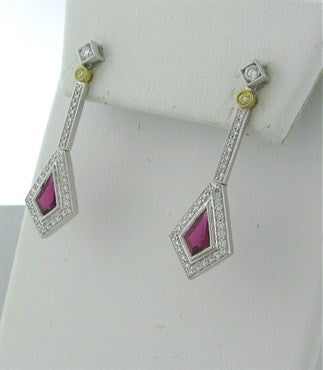thumbnail image of New Simon G 18K White Gold Rubellite Diamond Earrings