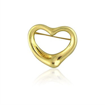 image of Tiffany & Co Elsa Peretti 18K Gold Open Heart Brooch Pin