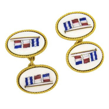 image of Antique Benzie Cowes 18k Gold Nautical Enamel Cufflinks