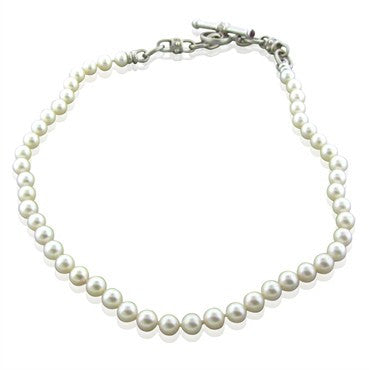 image of Penny Preville 18K Gold 7.5mm 7.8mm Pearl Ruby Diamond Toggle Necklace