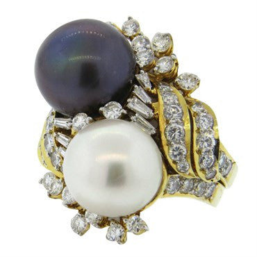 image of Gucci South Sea Pearl Diamond Gold Cocktail Ring