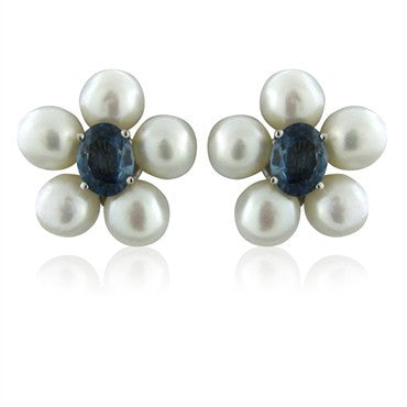 image of Seaman Schepps 18k White Gold Pearl Sapphire Earrings