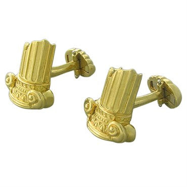 thumbnail image of Henry Dunay 18k Gold Ancient Ruins Column Motif Cufflinks
