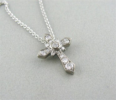 image of New Hearts On Fire Divine Gothic Cross Diamond Pendant Necklace