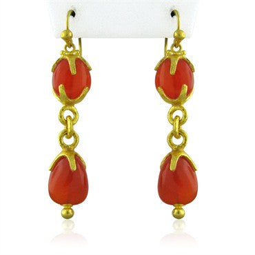 thumbnail image of New Gurhan Star Cap 24k Gold Carnelian Double Drop Earrings