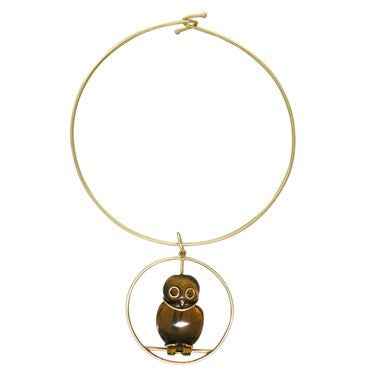 thumbnail image of 1970s Seaman Schepps Gold Tiger's Eye Owl Pendant Necklace