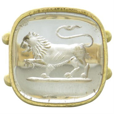image of Elizabeth Locke Intaglio Crystal Gold Large Ring