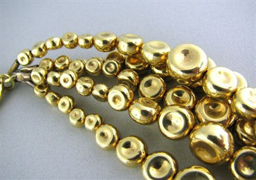 image of Robert Lee Morris 18K Gold Multi Strand Bead Necklace