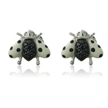 image of New Asprey 18K White Gold Diamond Black White Enamel Ladybug Earrings