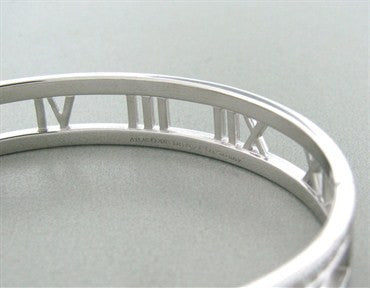 thumbnail image of Tiffany & Co Atlas Collection 18k White Gold Diamond Bangle Bracelet