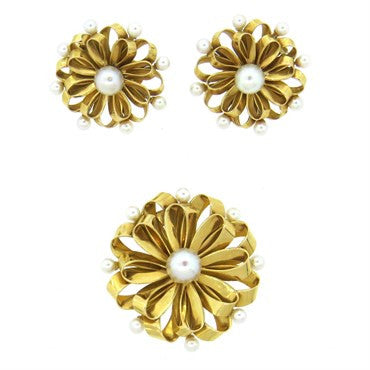 image of Large Retro Pearl 18k Gold Brooch and Earrings Set