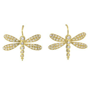 image of New Temple St. Clair Diamond 18k Gold Dragonfly Earrings