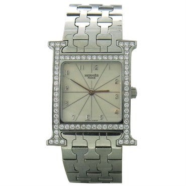 image of Hermes Lady's Stainless Steel and Diamond H Hour Wristwatch