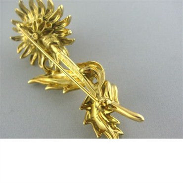 thumbnail image of Tiffany & Co Schlumberger Diamond Sunflower Brooch Pin