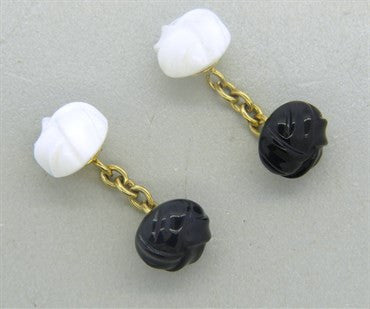 image of Trianon Carved White and Black Onyx 18k Gold Cufflinks