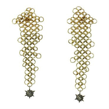 image of Diane Von Furstenberg for H Stern Diamond Gold Diamond Star Earrings