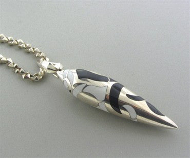 thumbnail image of Stephen Webster Sterling Silver Onyx Jade Inlayed Pendant Necklace