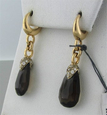 image of Pomellato Pin Up 18K Gold Diamond Smokey Topaz Drop Earrings