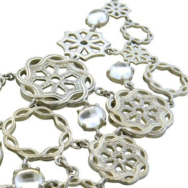 thumbnail image of Slane Fenestra Sterling Silver Moonstone 3.00ctw Diamond Bib Necklace