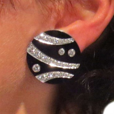 thumbnail image of Gemlok Jean Vitau Black Onyx Diamond 18k Gold Earrings