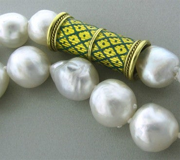 image of Elizabeth Gage 18K Gold Green Enamel South Sea Baroque Pearl Necklace