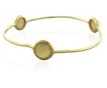 thumbnail image of New Ippolita 18K Gold Rock Candy Three Stone Shell Doublet Bracelet