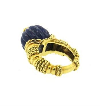 image of 1960s Carved Lapis Diamond 18k Gold Ring