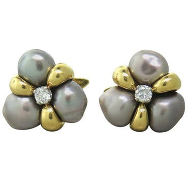 thumbnail image of 1970s Elegant Pearl Diamond Gold Cufflinks