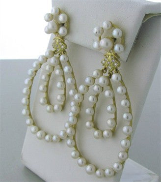 image of Slane & Slane 18K Gold Diamond Pearl Double Loop Earrings