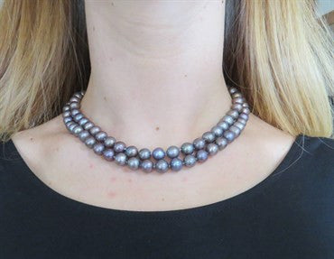 image of Seaman Schepps Tahitian Pearl Diamond 18k Gold Two Strand Necklace