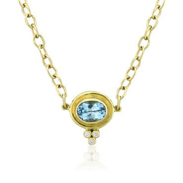 image of New Temple St. Clair 18K Gold Aquamarine Diamond Pendant Necklace