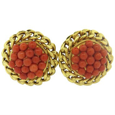 thumbnail image of Large Coral Gold Earrings