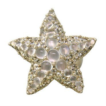 image of Pomellato Sirene 18k White Gold Moonstone White Sapphire Starfish Ring