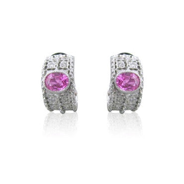 image of EGL Certified 18k Gold Pink Sapphire Diamond Earrings