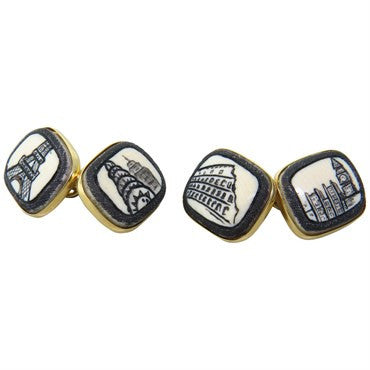 image of Trianon Scrimshaw Gold Cufflinks