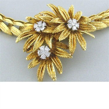 thumbnail image of Vintage J.E. Caldwell 18k Gold Diamond Necklace Brooch