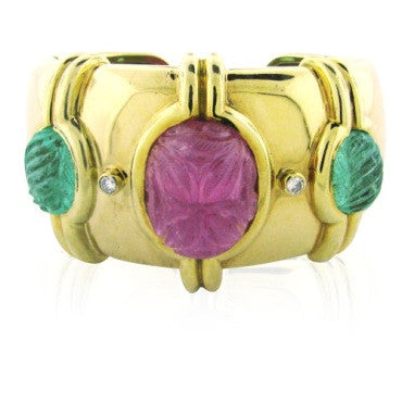 image of Tambetti 18k Gold Carved Ruby Emerald Diamond Cuff Bracelet