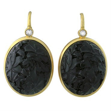 image of New Pomellato Victoria 18k Gold Diamond Carved Jet Earrings