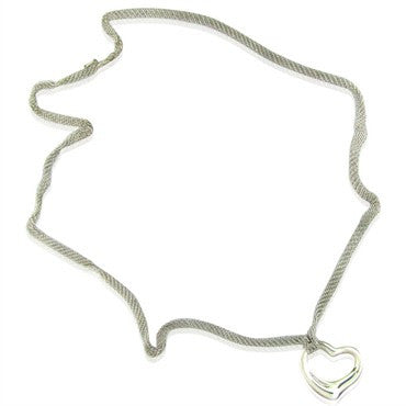 image of Tiffany & Co Elsa Peretti Open Heart Sterling Silver Mesh Necklace