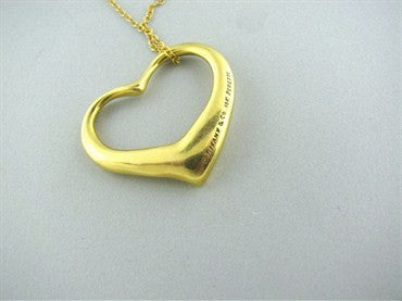 thumbnail image of Tiffany & Co Peretti 18K Gold Large Open Heart Necklace