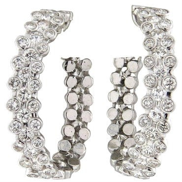 image of Fine 3.00ctw Diamond 18k Gold Hoop Earrings