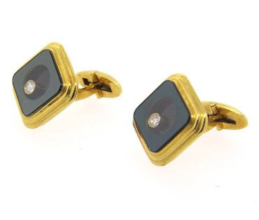 thumbnail image of Floating Diamond Gold Cufflinks