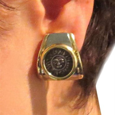 thumbnail image of Marina B 18k Gold Silver Sun Coin Earrings